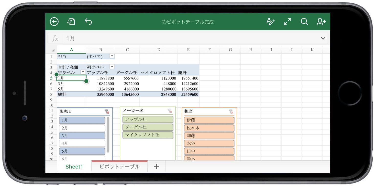 Excelアプリでピボットテールを閲覧
