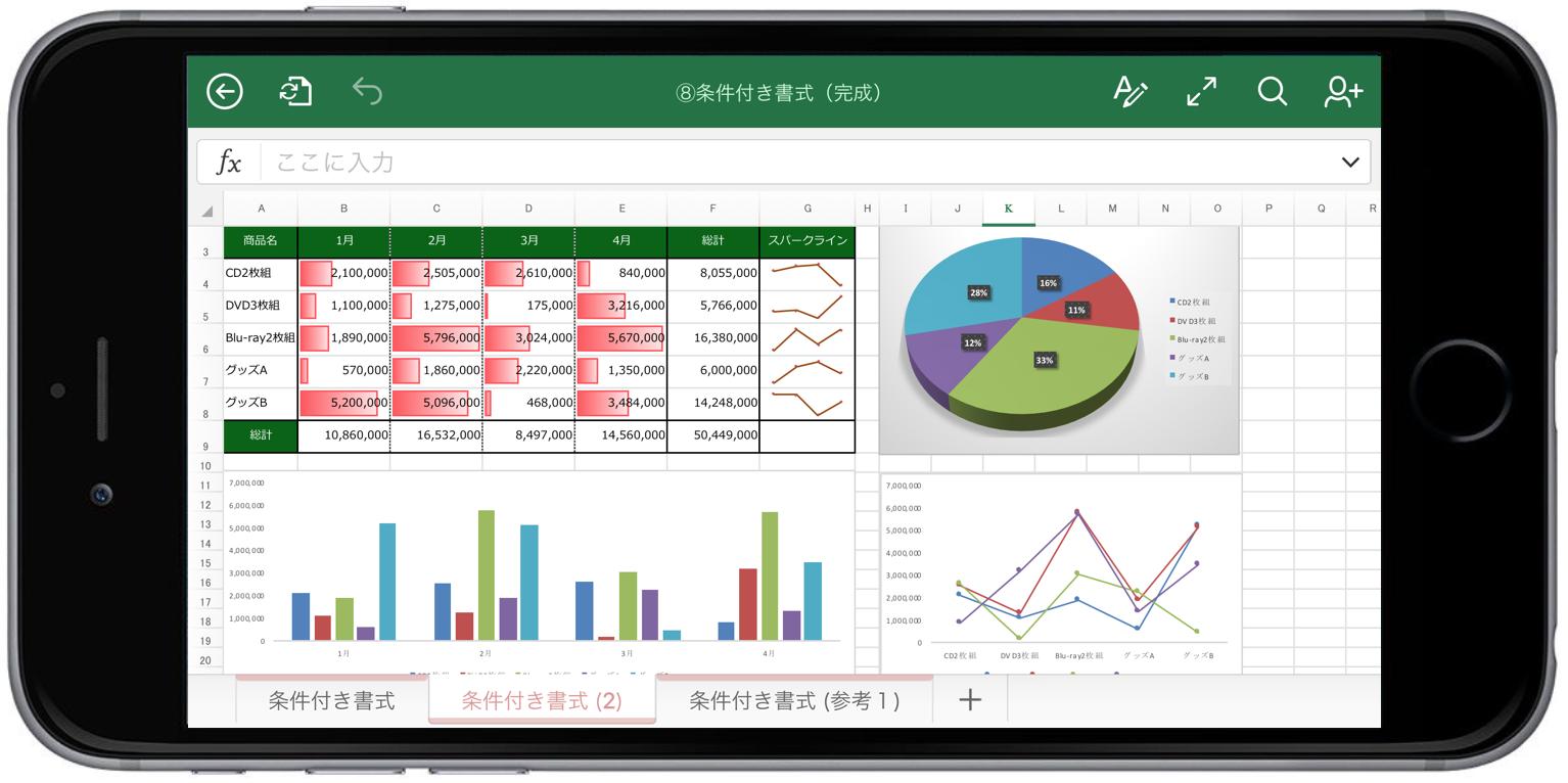 Excelアプリで条件付き書式、グラフを閲覧